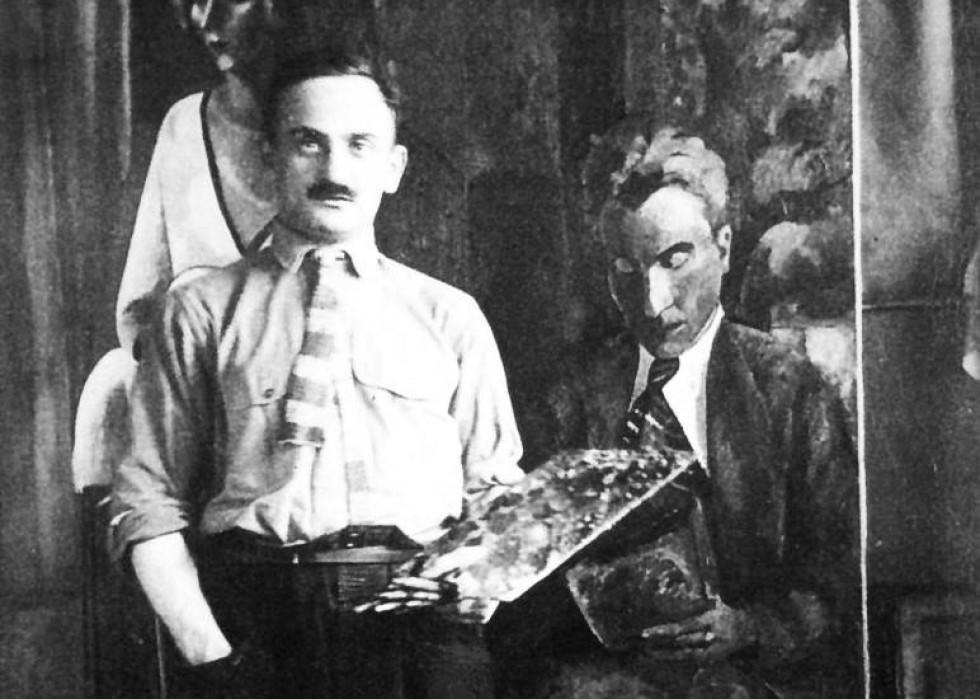 Вацлав Завадовський в майстерні. 1920