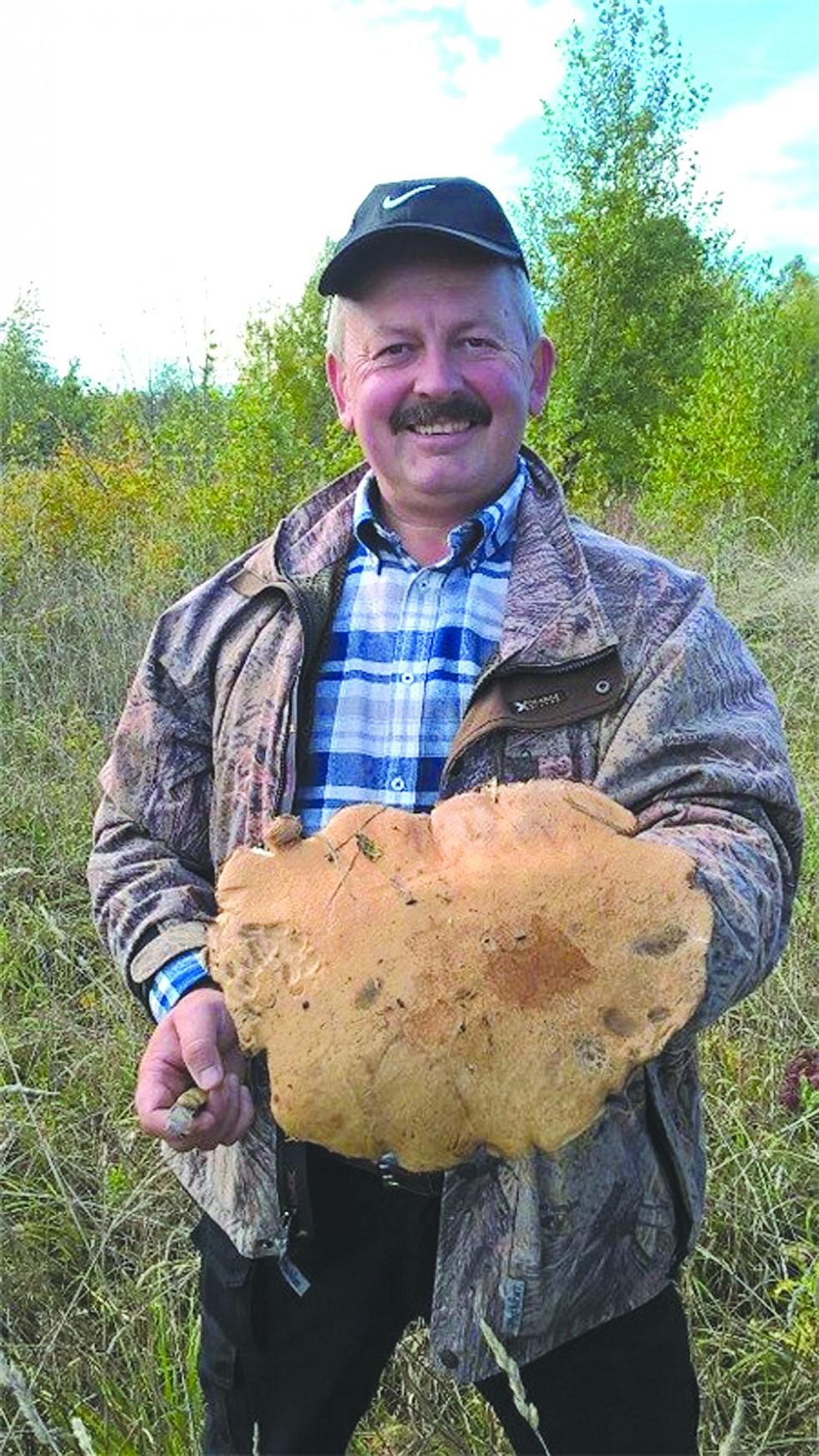 На фото з Facebook: житель Нововолинська Юрій Єлева знайшов велетенський червоноголовець діаметром 30 сантиметрів і вагою 1250 грамів